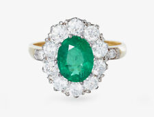 Victorian Style 2.15ct Emerald and 1.35ct Diamond Cluster Ring 18ct Yellow Gold