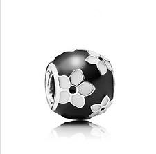 1pcs White flower Silver Charm  Bead Fit European Charm Bracelet kk09