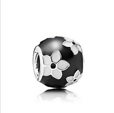 1pcs White flower Silver Charm  Bead Fit European Charm Bracelet ku09