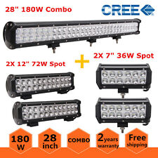 "28""inch 180W Cree LED Light Bar+ 12"" 72W + 7"" 36W Spot Offroad SUV 4WD Ford Jeep"