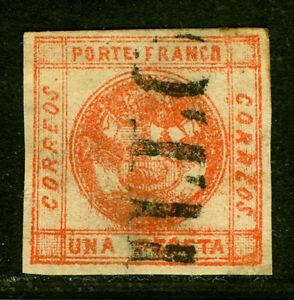 PERU  1858  Coat of Arms  1peseta red  Scott # 8 used  VF nominal cancel