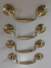 4 BRASS CABINET HANDLES - 130mm DROP HANDLE - STYLE # 2 - POLISHED BRASS