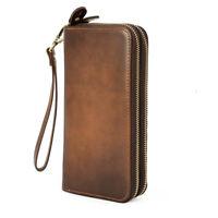 Retro Men Real Leather Clutch Long Wallet Zipper Cowboy Purse Card Holder Purse