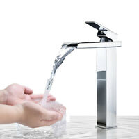 Tall Countertop Bathroom Vessel Sink Faucet Basin Mixer Tap Waterfall Chrome
