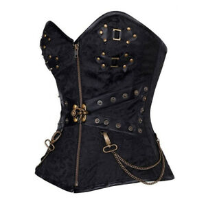 Steampunk Overbust Corset Steel Boning Lace Up Lingerie Bustier Top with Zipper