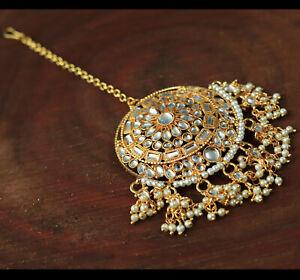 Indian Bollywood Kundan Pearl Maang Tikka Forehead Fashion Wedding Jewelry Set