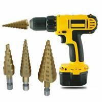 4-20mm HSS 4241 Steel 5 Step Cone Titanium Drill Bit Hex Shank Hole Cutter Gold