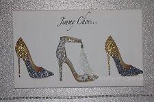 Brillo Jimmy Zapato Cuadro Lienzo Pared Arte Blanco/Dorado/plateado. cualquier tamaño.