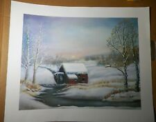 """WENDELL COOLEY Art Print - Snow Scene with Mill -  signed  24"""" X 20"""""""