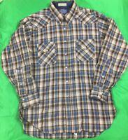 VTG Pendleton Long Sleeve Pearl Snap Flannel Shirt 100% Wool Men's SZ L USA EUC