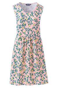 Lands End Sleeveless A Line Lemon Print Pink Large Scoop Neck Dress Women NWOT