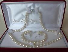"""16"""" Inch AAAA+ 7-8mm White Pearl Necklace Bracelet Earrings Set 14k W Gold Clasp"""