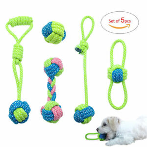 5pcs/pack Interactive Dog Toys Braided Cotton Bite Rope Chew Training Play Toys
