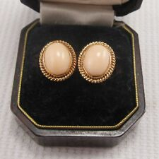 Vintage Coral Earrings set in Solid 14ct Yellow Gold
