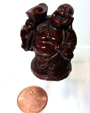 VTG Miniature Standing Laughing Buddha Red Resin Brings Riches and Happiness
