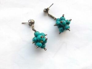 VINTAGE 1980's  TURQUOISE BLUE ART GLASS BEAD CLUSTER SILVER TONE EARRINGS