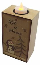 WOODEN SNOWMAN TEA LIGHT CANDLE HOLDER WITH LED CANDLE 9CM X 15CM X 6.5CM