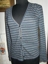 Pull fin boutons gilet coton POLYESTER gris rayé bleu LITTLE MARCEL M 38/40