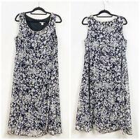 Dress Barn 16W Plus Womens Black White Floral Print Sleeveless A-line Midi Dress
