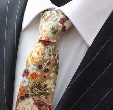 Tie Neck tie Slim Beige with Floral  Quality Cotton T6122