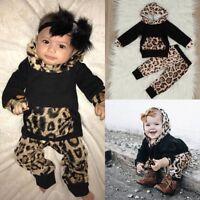 2PCS Newborn Kids Baby Boy Girls Hooded Coat Tops+Long Pants Outfits Clothes Set