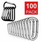 Lot 50/100 Pcs Silver / Black Aluminum Carabiner Spring Belt Clip Key Chain USA