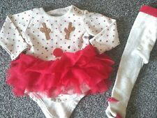 Baby Girls Tu Matching 2 Piece Christmas Outfit 3-6 Months Excellent Condition