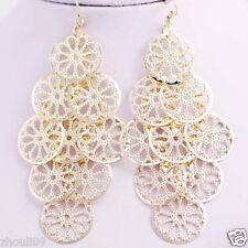 gorgeous 9k Yellow Gold Filled Elegant Ear Stud dangle hoop Earrings e516