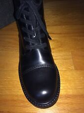 VIA SPIGA NOBLE Black Womens Designer Shoes Lace Up Side Zipper Boots 6,5