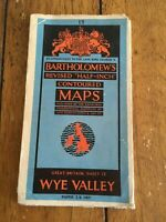 Vintage Bartholomew's Contoured Paper Map O/S Wye Valley No 13 Wall Hanging