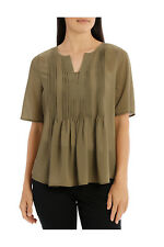 NEW Regatta Tuck Front Frill Elbow Sleeve Top Khaki