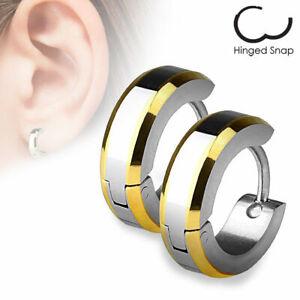 Mens / Ladies Surgical Steel IP Bevelled Edge Huggie Hoop Earrings