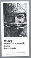 1967 NFL SUPER BOWL I MEDIA GUIDE KANSAS CITY CHIEFS vs GREEN BAY PACKERS