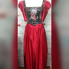 Vintage Richilene Black Sequin Floral Bead Red Satin Ball Gown Dress Medium 80s