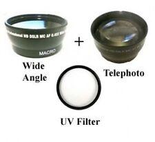 Wide Lens + Tele lens + UV Filter for Sanyo VPC-HD1000 VPC-HD1000BK VPC-HD1000EX