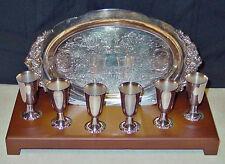 WALLACE GRAND BAROQUE SILVERPLATE CORDIAL SET W/ STAND MINT NEVER USED!
