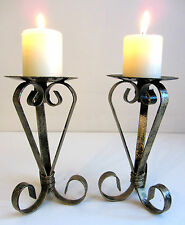 PAIR OF 17 CM TALL  DISTRESSED GOLD WROUGHT IRON CANDLESTICKS CANDLE HOLDERS