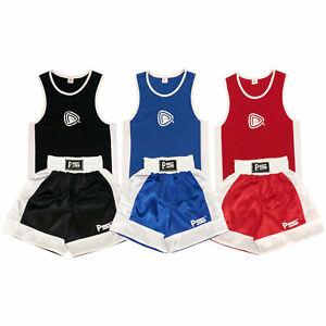 Kids Boxing Shorts & Top Set 2 Pieces High Qualität Satin Fabric Thai Kick MMA