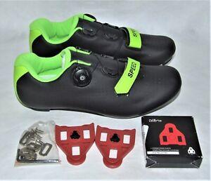 SPEED Road Cycling Bike Shoes w/BOERTE Cleats - Black & Green - Size 44 (US 11)