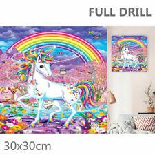 Full Drill Unicorn Rainbow Flowers 5D Diamond Painting Cross Stitch Kit Decor UK