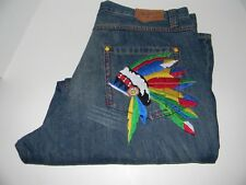 Coogi Australia Jeans Indian Headdress Motif Back Pocket Tag 40x34 Actual 41x32
