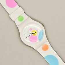 Vintage COURREGES Watch Toute Femme White Polka Dot Mod Color WOW RARE