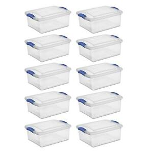 15 Quart Clear Latch Box Storage Home Kitchen Craft Organizer Container 10 Pack