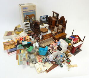 Huge Lot Vintage Wood Dollhouse Furniture Accessory Collection 1:12 Inch Scale