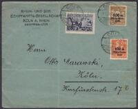 DR Mi Nr. 258 - 260 MiF auf Satz Firmenbrief Schiffahrt, gel. in Köln 01.03.1923