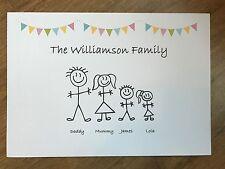 Family Tree personalised print - bespoke gift bunting (pastel) /  stickman