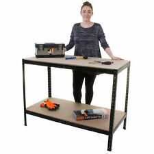 HEAVY DUTY WORK BENCH TABLE METAL SHELVES SHELVING INDUSTRIAL WORKBENCH SHED NEW