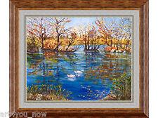 AUTUMN IN PROSPECT PARK NY oil canvas 24x30 by Galina Zaytseva Free Shipping