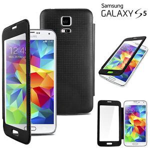 Samsung Touch S5 Full-View Case Schwarz Displayschutzfolie Flip Cover neu