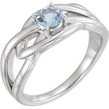 14k White Gold Aquamarine Freeform Ring Size 7